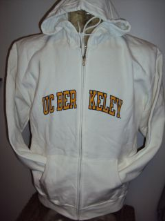 NEW LADIES CALIFORNIA BERKELY WHITE ZIP HOODIE HOODED SWEAT SHIRT SIZE