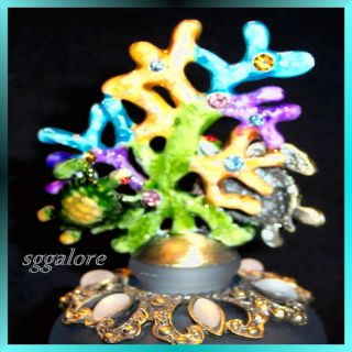 Retired Swarovski Crystals Bejeweled Sea Turtles Frosted Glass Perfume