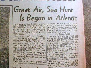 hdln newspaper 5 Navy airplanes FLIGHT 19 disappear n BERMUDA TRIANGLE