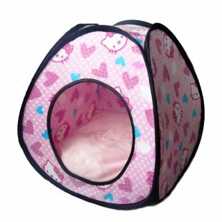 Kitty Print Pet Bed Tent Style Dog Cat Folding Kennel Bed House