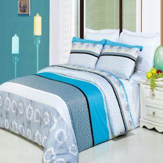 4pc Gray Black Turquoise White 300TC Egyptian Cotton Comforter Set