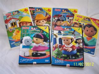Fisher Price Little People 6pc Dvd Lot Eddie Maggie Sonya Lee Michael