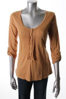 XCVI New Becca Brown Smocked Scoop Neck Henley Shirt Top s BHFO