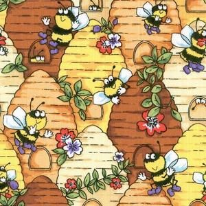 Be My Bugs Beehive Bee Fabric Honey Bumble Bees Novelty Quilting
