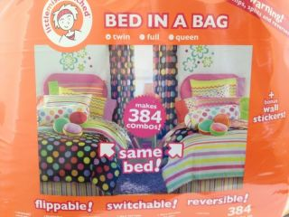 Bed In A Bag Reversible Twin Bed Comforter SET Girl Polka Dots Stripes