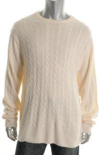 Geoffrey Beene New Ivory Cable Knit Ribbed Trim Crew Neck Pullover
