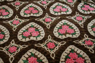 Vint Unusual Chenille Bedspread Dark Brown White Hearts Pink Flowers
