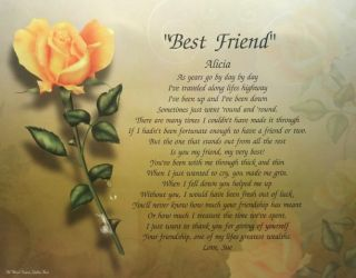 Best Friend Personalized Poem Birthday Christmas Gift