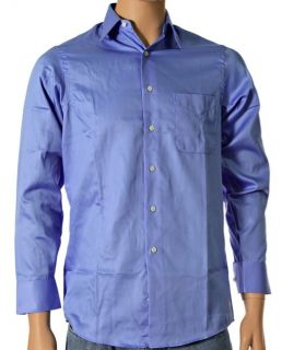 New $50 Geoffrey Beene Wrinkle Free Sateen Solid Blue Dress Shirt 14 5