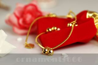 24K Gold Plated Overlay Cute Bell Chain Ankle Bracelet Fashion Jewelry