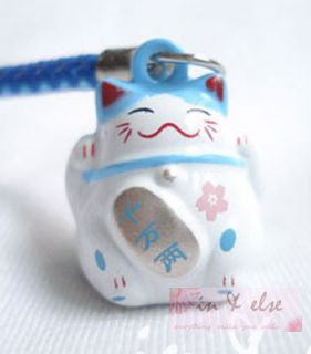 Maneki Neko Lucky Cat Bell Mobile Cell Phone Charm Strap 0 7