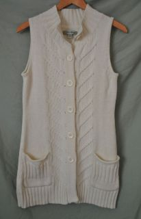 BETH BOWLEY Womens AnThRoPoLoGiE CREAM Cotton CARDIGAN SWEATER sz. S