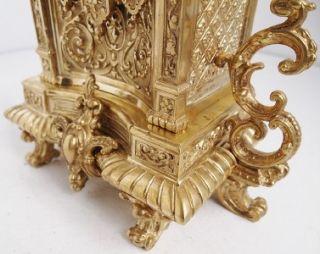 French S.Marti gilt bronze gothic 8 day bell strike mantel clock