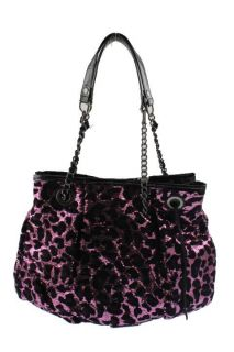 Betsey Johnson Purple Sequined Animal Print Tote Handbag Medium BHFO