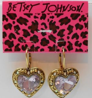 Betsey Johnson Iconic Pink Crystal Heart Earrings