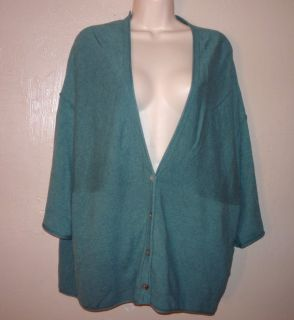 PUREJILL J. JILL green cotton cashmere boxy cardigan sweater XL 3/4