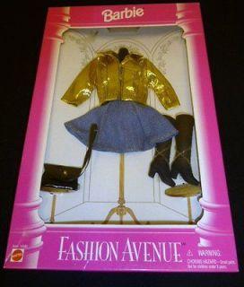BARBIE DOLL FASHION AVENUE JEAN DRESS, GOLD LAME JACKET, PURSE