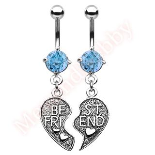 product name pair of best friend heart charm pendant aqua