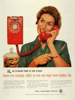 1959 Ad Bell Telephone System Extension Kitchen Phone Christmas Holly