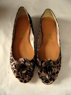 Beverly Feldman Leopard Print Ponly Hair Open Toe Flats Silk Flowers