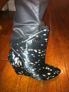 Belle Sigerson Morrison Spotted Pony Hair Calf Hair Wedge Booties Sz 6
