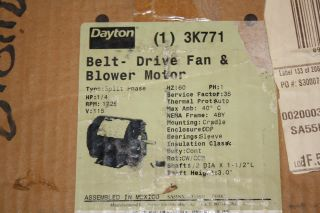 3K771 Split Phase 1 4HP 1725RPM Belt Drive Fan Blower Motor NIB