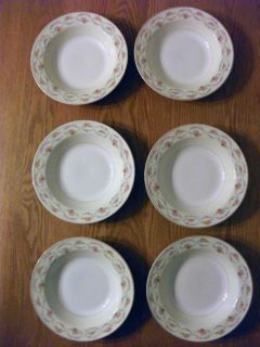 Set of SIX Semi Vitreous Edwin M Knowles Soup Bowls 8 1 4 inches