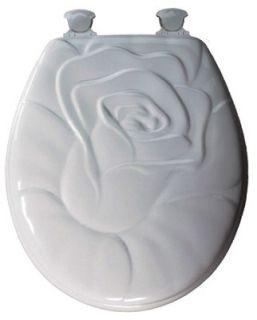Bemis 28EC 000 Bemis White Round Wood Toilet Seat Rose Design