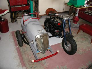 Vintage 1930s Pedal Car Sidecar Mini Bike Cycle 1 of A Kind Custom