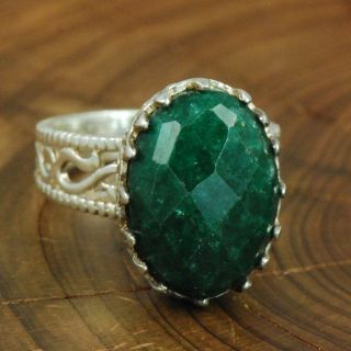 Sterling Silver   SAMUEL BENHAM Oval Emerald 7.5g   Ring (9) ZL566