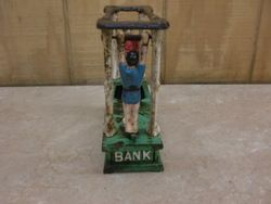 Antique Mechanical Acrobat 1882 Hubley Cast Iron Bank