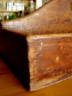 Antique Wooden Carrier Best Big Tote Long Pine Wood Box PRIMITIVE19THC