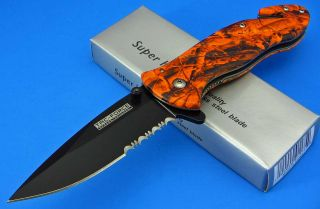 Tac Force Spring Assisted Orange Camo Handle Black Blade Folding