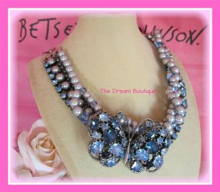 Betsey Johnson Blue Iconic Bonjour Butterfly Pearl Choker Statement
