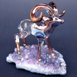 Bighorn Sheep RAM Figurine Glass Amethyst Crystal Gold
