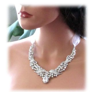 OOAK Handmade Bridal Crystal Swarovski Rhinestone Statement Necklace