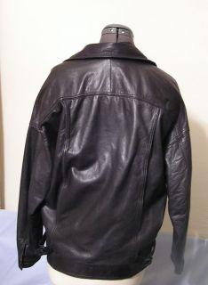 Mens Bermans Black Leather Jacket 2 Pockets Waist Buckles Sz s 42