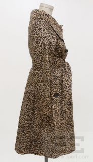 Sara Berman Tan & Black Leopard Print 3/4 Length Belted Trench Jacket