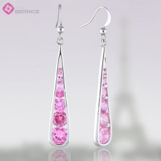 Fashion Lady Jewelry Round Cut Pink Sapphire White Gold GP Dangle