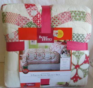 Better Homes and Gardens 3 Piece King Quilt & Shams Set Double Wedding
