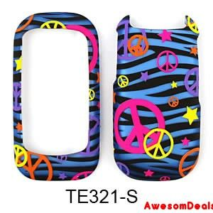 Cell Cover Case for Kyocera Luno S2100 Trans Colorful Peace Sign Blue