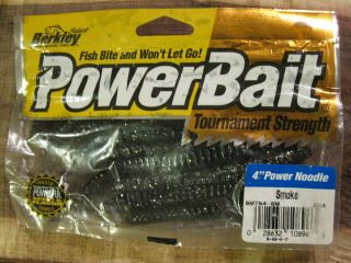 Berkley Powerbait 4 Power Noodle Fishing Lures Worms Smoke