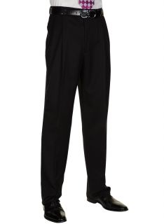 BERLE Mens Black Worsted Wool Dress Pants Pleated Trousers Milan