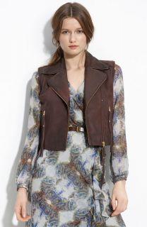 Sara Berman Fringe Trim Convertible Cropped Leather Jacket Size Medium