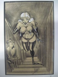BILL WARD ORIGINAL ART LARGE SIZE CONTE 1950S GOOD GIRL ART HUMOR