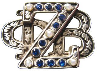 Zeta PHI Beta Stacked 3D 3 Letter 5 Pearl Lapel Pin