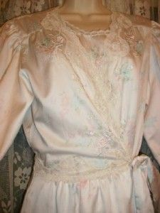 Beth Long Pearls Lace Satin Floral Nightgown Robe Set Lot M L