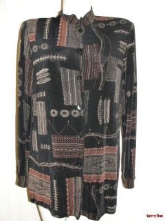 Coldwater Creek Brown Beige Black Tunic Collar Long Sleeve Shirt Top