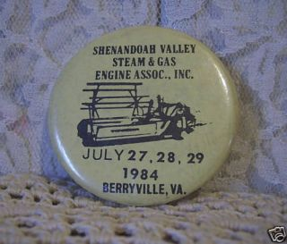 Shenandoah Valley Steam Gas Engine Berryville VA Pin