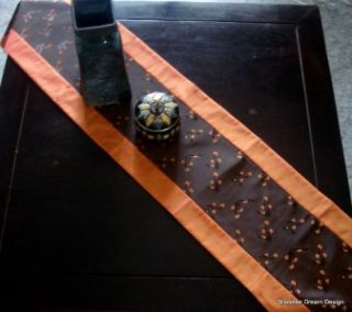 Elegant Orange Brown Silk Table or Dresser Runner 78